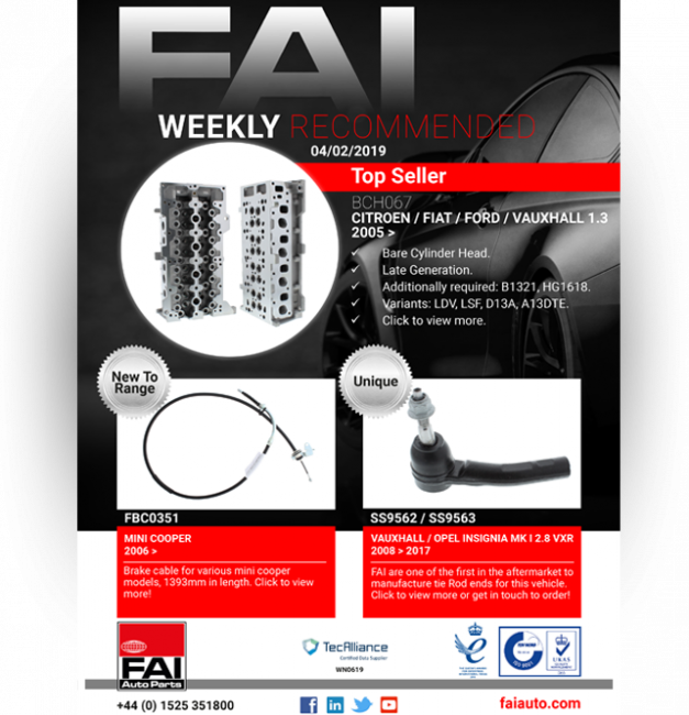 Weekly Recommended - 4th February 2019 - FAI Auto